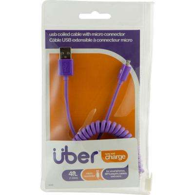 4 ft. USB Micro Sync Charge Coil Cable - Purple