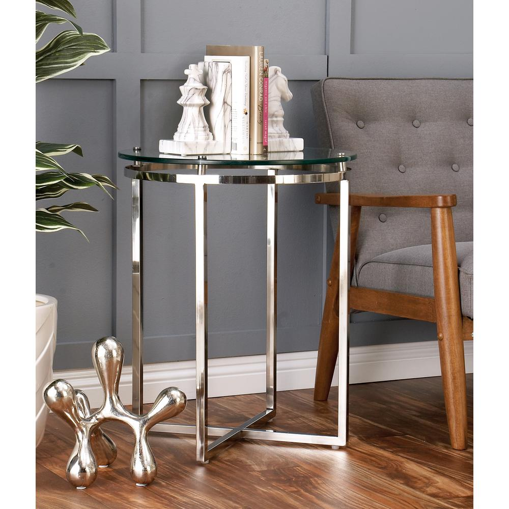 Wonderful Null Clear Round Side Table With Silver Metallic Cross Legs