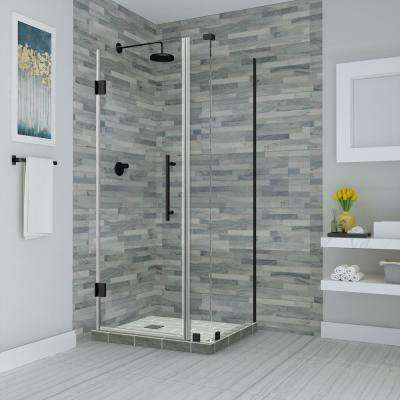 Bromley 27.25 in. to 28.25 in. x 36.375 in. x 72 in. Frameless Corner Hinged Shower Enclosure in Oil Rubbed Bronze