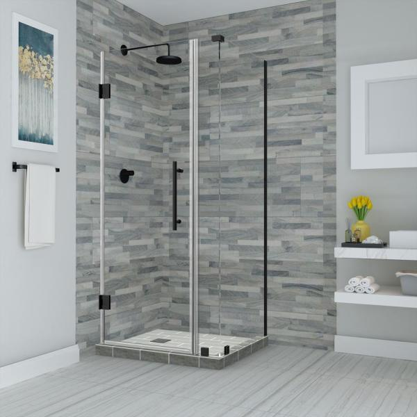 Bromley 29.25 in. to 30.25 in. x 38.375 in. x 72 in. Frameless Corner Hinged Shower Enclosure in Matte Black