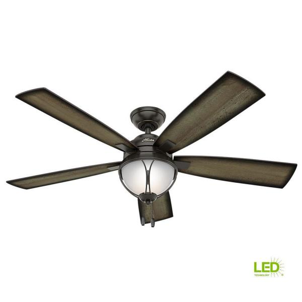 Hunter Sun Vista 54 In Led Indoor Outdoor Noble Bronze Ceiling Fan With Light Kit 59233 The Home Depot