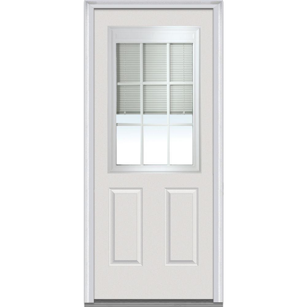 MMI Door 32 in. x 80 in. Internal Blinds with GBG Right Hand 1/2 Lite 2-Panel Primed Steel Prehung Front Door