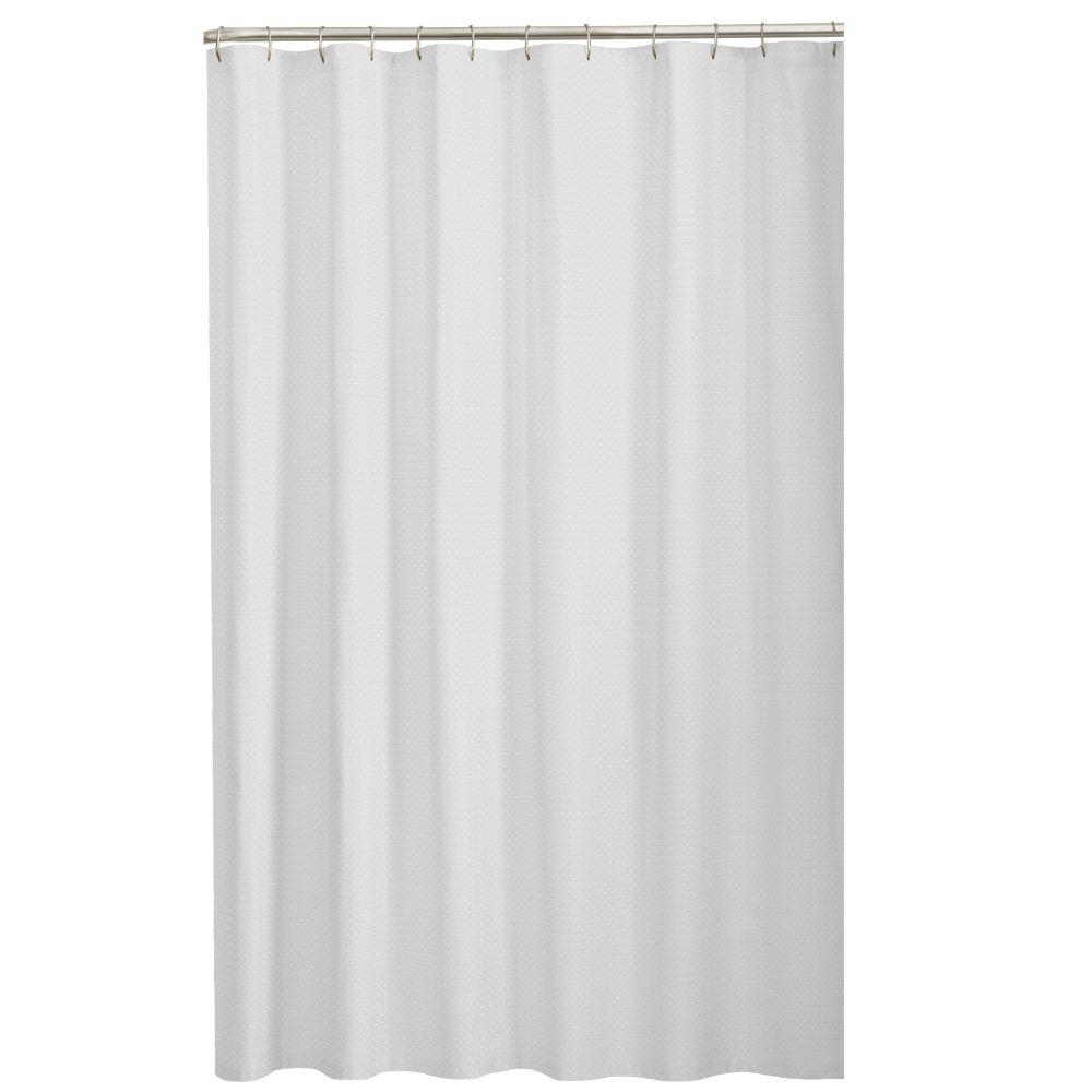 Glacier Bay Dobby Fabric 72 In White Shower Curtain 7137001 WHT
