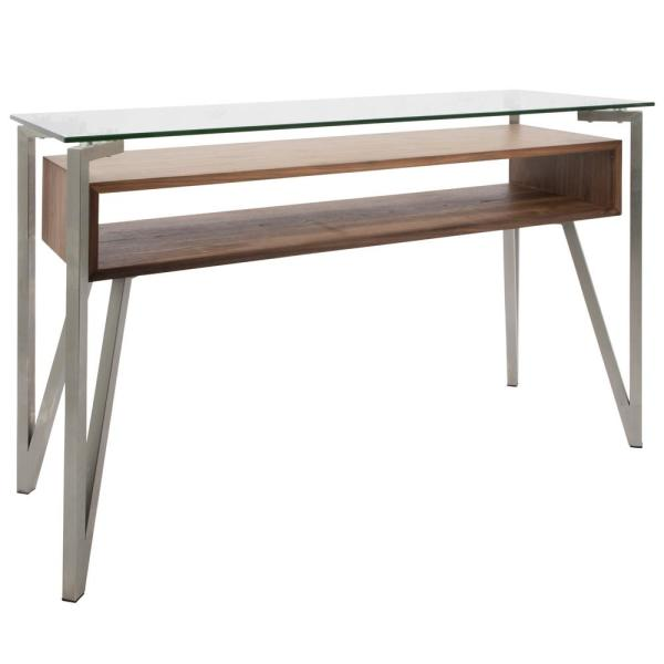 Lumisource Stainless Steel, Walnut, Clear Hover Console Table TBC-HVR WL