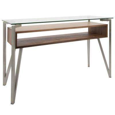 Stainless Steel, Walnut, Clear Hover Console Table