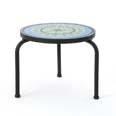 Iris Black Stone Outdoor Side Table