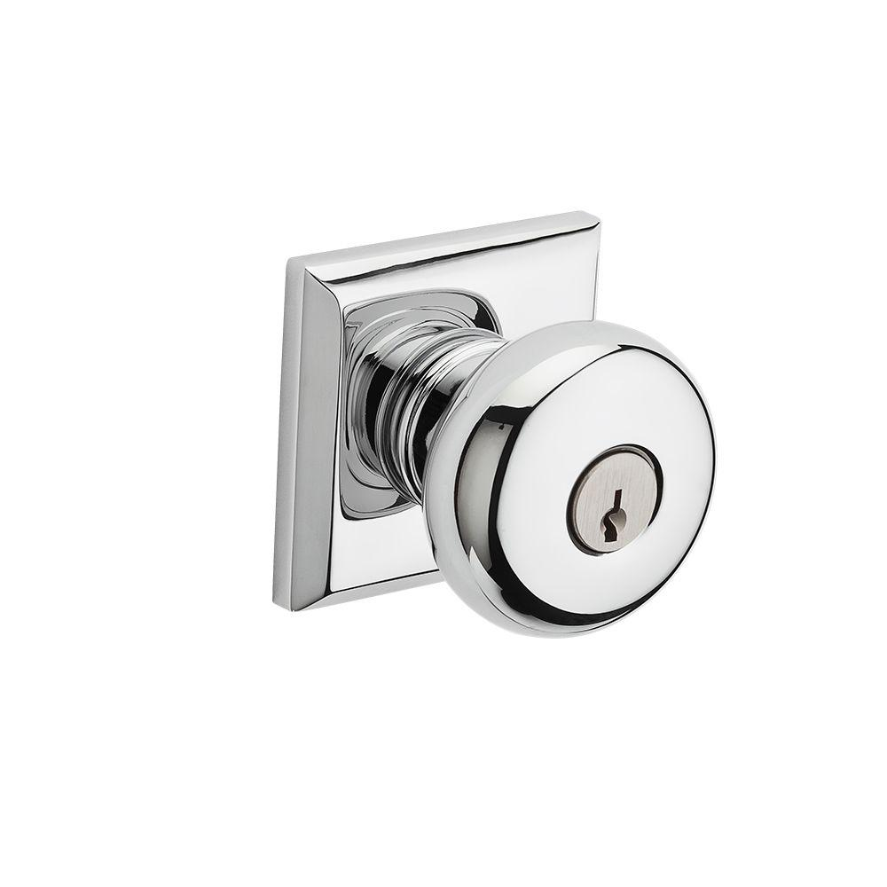 Reserve Round Polished Chrome Keyed Entry Door Knob with Traditional Square