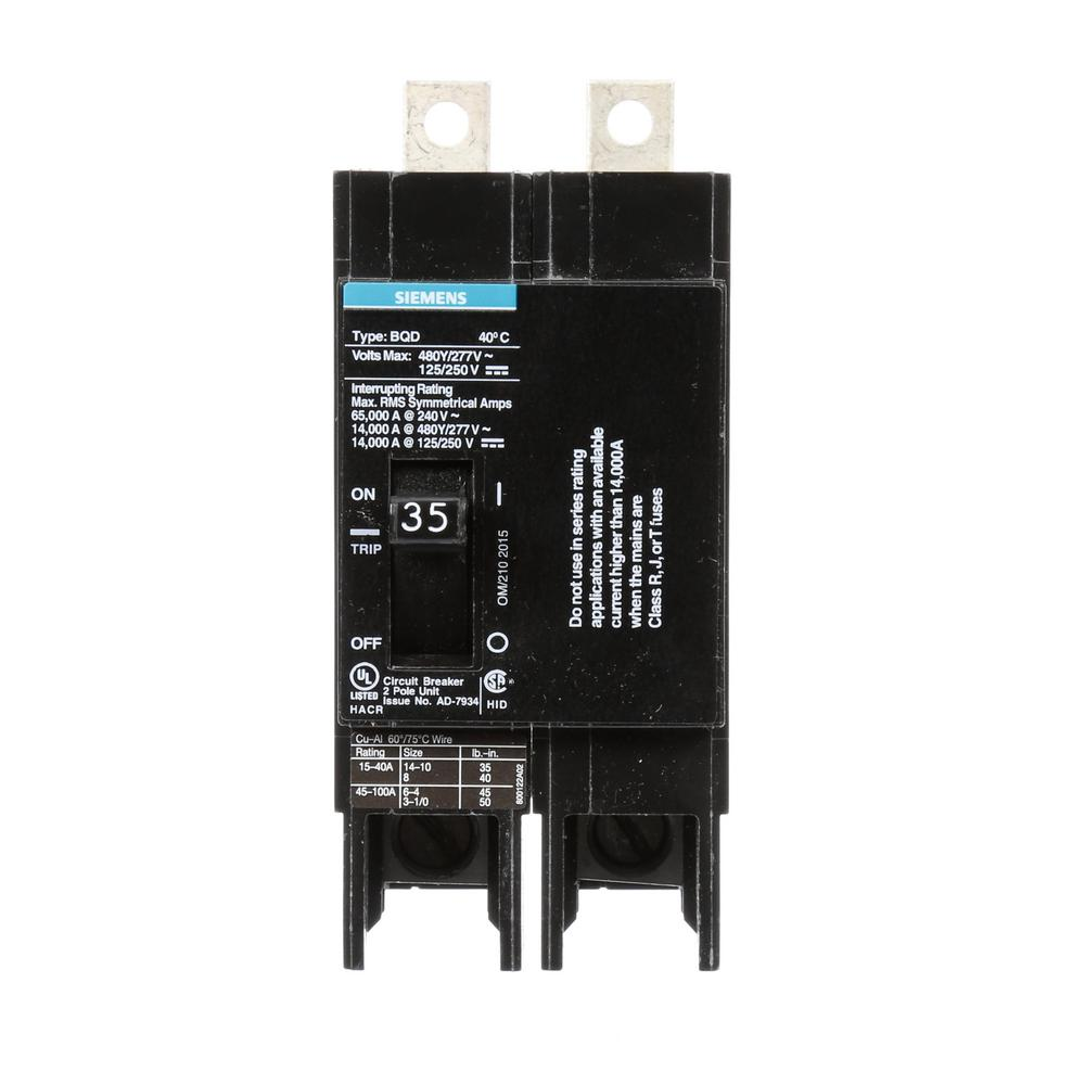 Siemens 35 Amp Double-Pole Type BQD Bolt-On Circuit Breaker