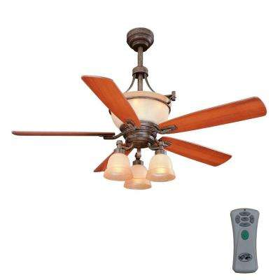 Rock Creek 52 in. Indoor Iron Oxide Ceiling Fan with Light Kit and Remote Control