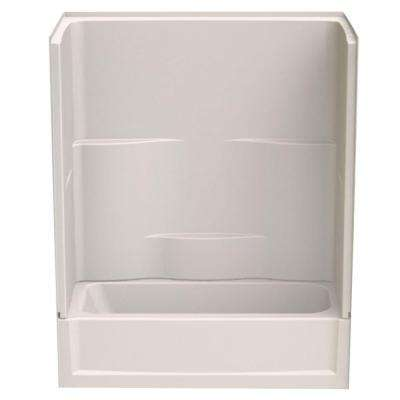 Remodeline 60 in. x 30 in. x 72 in. 2-Piece Bath and Shower Kit with Right Drain in Biscuit