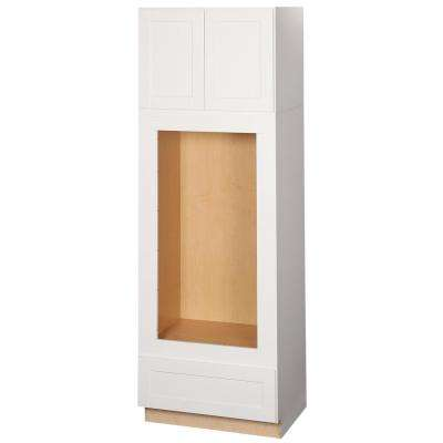 Shaker Assembled 33 x 96 x 24 in. Pantry/Utility Double Oven Kitchen Cabinet in Satin White