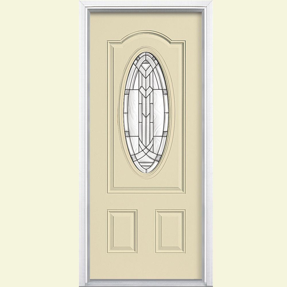 Masonite 36 in. x 80 in. Chatham 3/4 Oval Right-Hand Inswing Painted Smooth Fiberglass Prehung Front Exterior Door w/ Brickmold