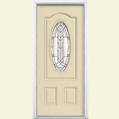 36 in. x 80 in. Chatham 3/4 Oval Right-Hand Inswing Painted Smooth Fiberglass Prehung Front Exterior Door w/ Brickmold