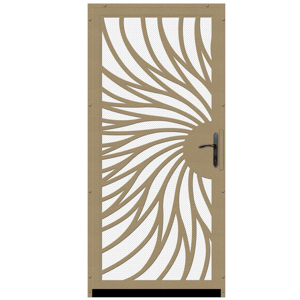Unique Home Designs 36 in. x 80 in. Solstice Tan Surface Mount Steel Security Door with White Perforated Screen and Bronze Hardware