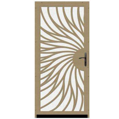 36 in. x 80 in. Solstice Tan Surface Mount Steel Security Door with White Perforated Screen and Bronze Hardware