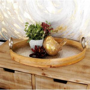 Rustic Wood and Aluminum Oval Trays (Set of 2)