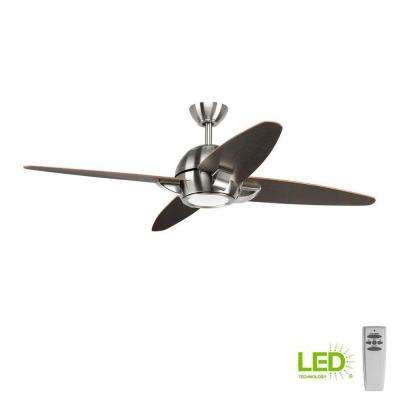Soar Collection 54 in. LED Indoor Brushed Nickel Modern Ceiling Fan with Light Kit and Remote