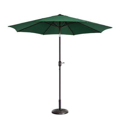 9 ft. Aluminum Market Auto Tilt Patio Umbrella in Green