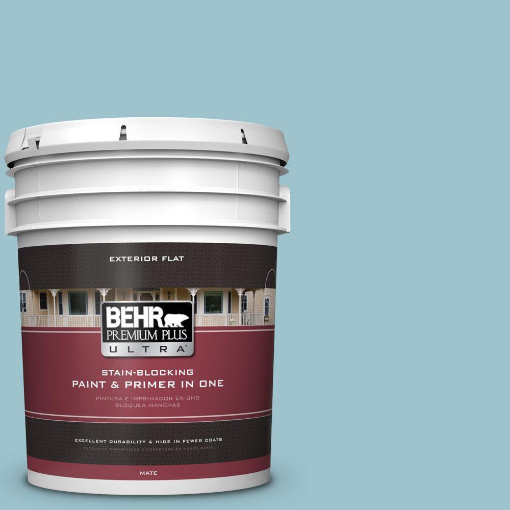 BEHR Premium Plus Ultra 5-gal. #ICC-99 Alluring Blue Flat Exterior Paint