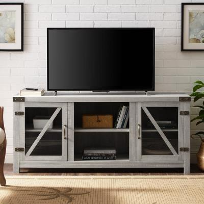 58 in. Stone Grey Glass Barn Door TV Stand with Side Doors
