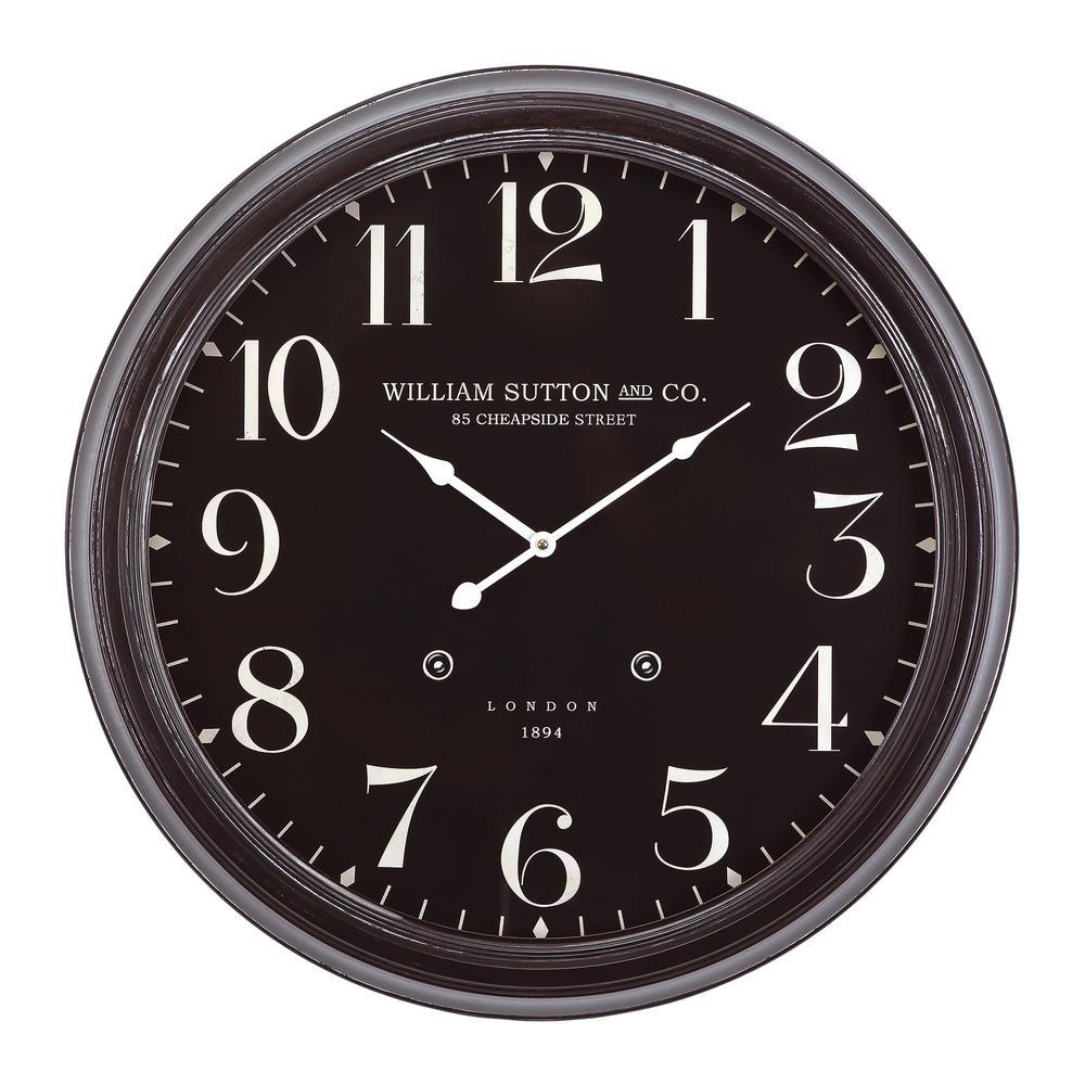25 in. Circular Iron Wall Clock in Black Distressed Frame