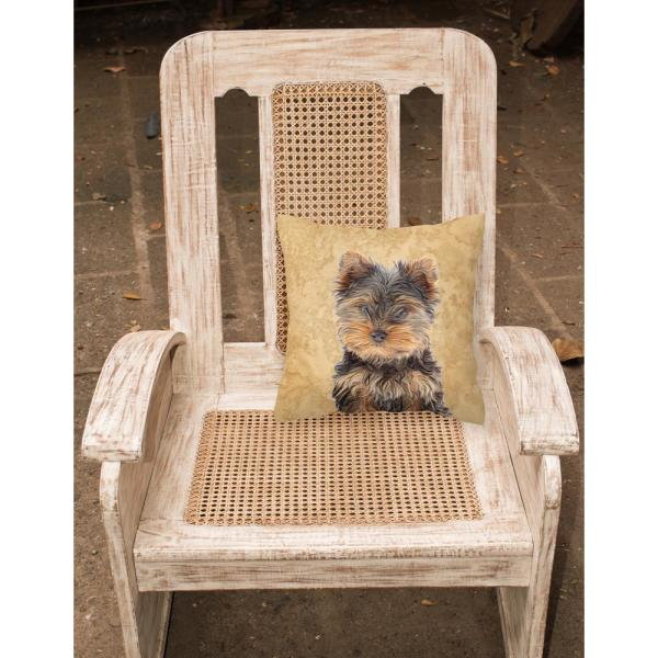 Caroline S Treasures 14 In X 14 In Multi Color Lumbar Outdoor Throw Pillow Yorkie Puppy Yorkshire Terrier Canvas Kj1230pw1414 The Home Depot
