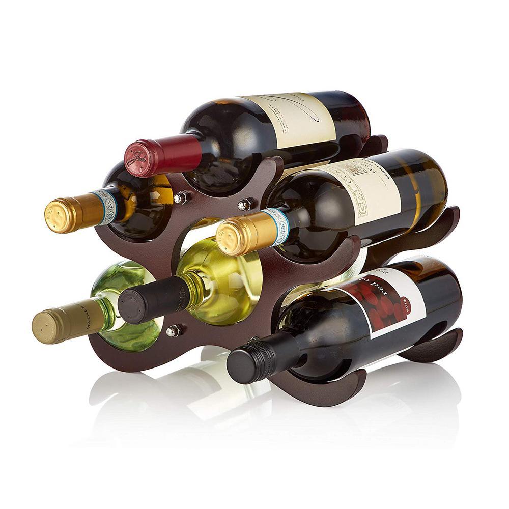 6-Bottle Wood Cherry Wine Rack