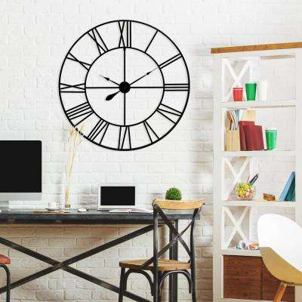 Metal Cut Out Roman Numeral Blue Grey Wall Clock