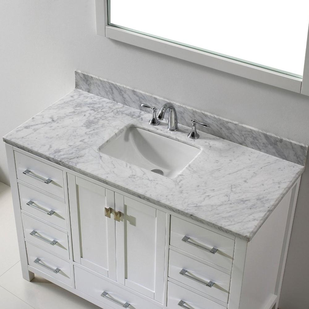 Eviva Aberdeen 47 2 In W X 22 In D X 35 In H Vanity In White With Carrara Marble Vanity Top In White With White Basin