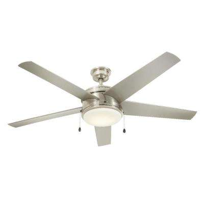 Wet rated ceiling fans lighting the home depot led indooroutdoor brushed nickel ceiling fan aloadofball Image collections
