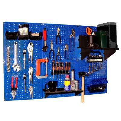 32 in. x 48 in. Metal Pegboard Standard Tool Storage Kit with Blue Pegboard and Black Peg Accessories
