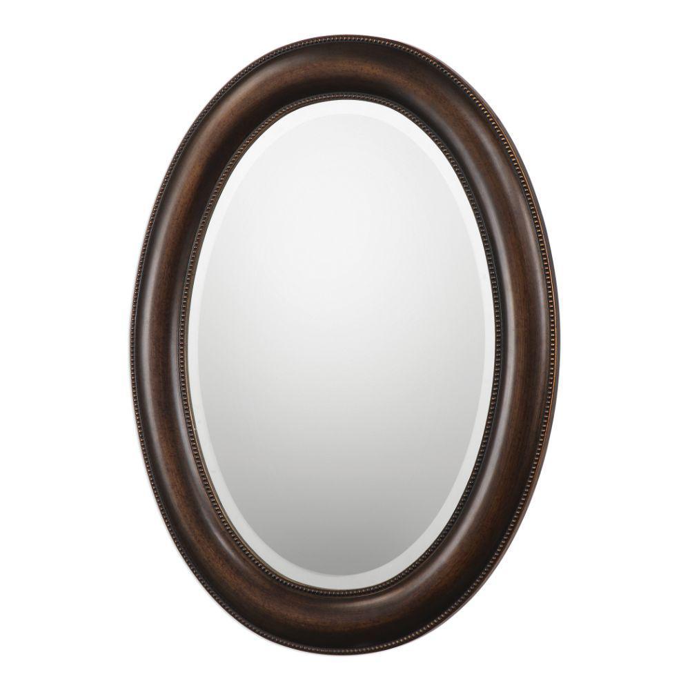 Medium Oval Brown Modern Mirror (29.45 in. H x 22.45 in. W)