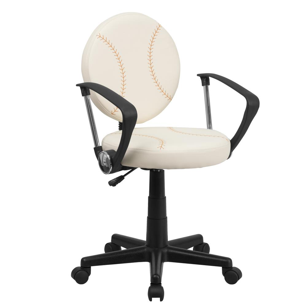 Baseball Cream Task Chair with Arms