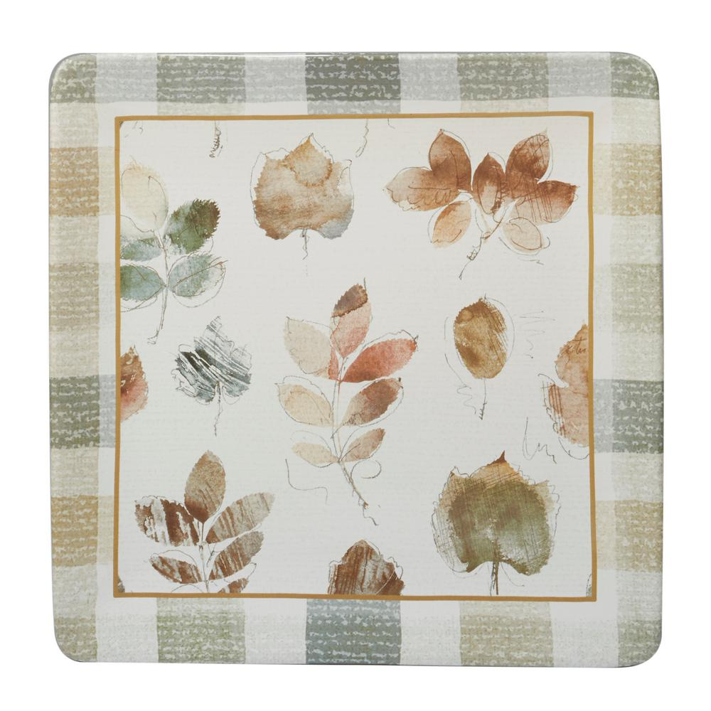 A Woodland Walk 12.5 in. Grey and Sepia Ceramic Square Platter