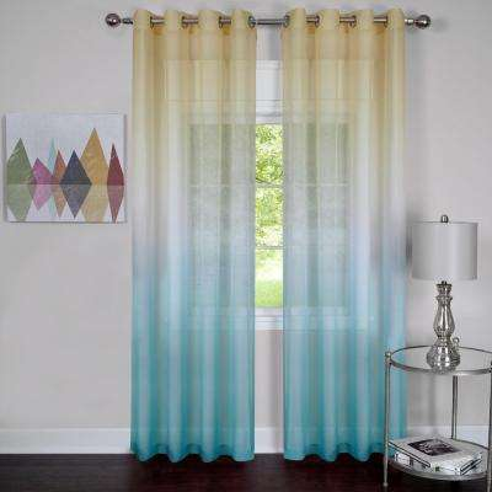 Sheer Rainbow 63 in. L Single Grommet Window Curtain Panel in Blue