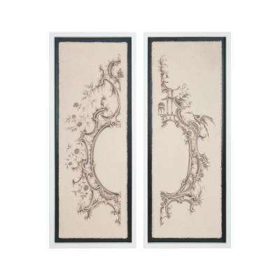 """50 in. x 20 in. """"Ornamental Architectures"""" Hand Painted Framed Canvas Wall Art (Set of 2)"""