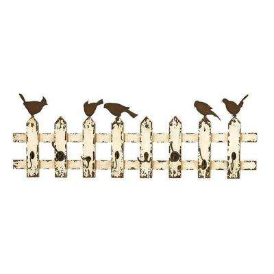 Chirp Antique White 8-Iron Wall Hooks