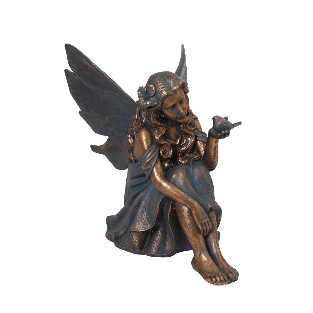 25.4 in. Tall Verdigris and Gold Magnesium Fairy Figurine