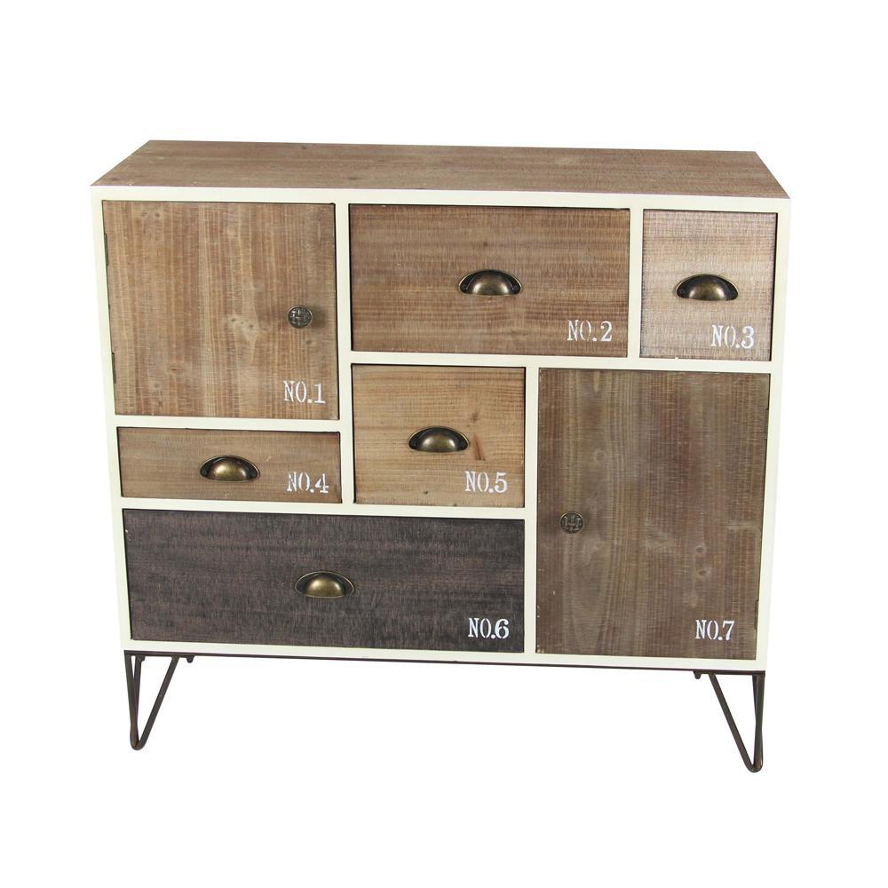 Litton Lane 7-Drawer Stained Wooden Storage Chest 94622