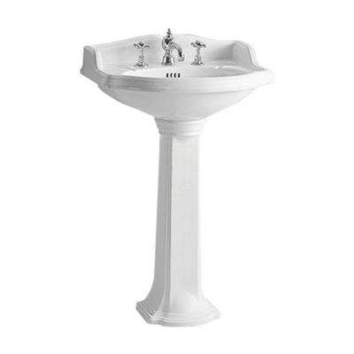 Isabella Collection Small Traditional Pedestal Combo Bathroom Sink in White