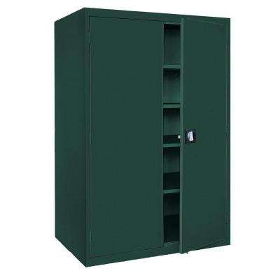 Elite Series 72 in. H x 46 in. W x 24 in. D 5-Shelf Steel Recessed Handle Storage Cabinet in Forest Green