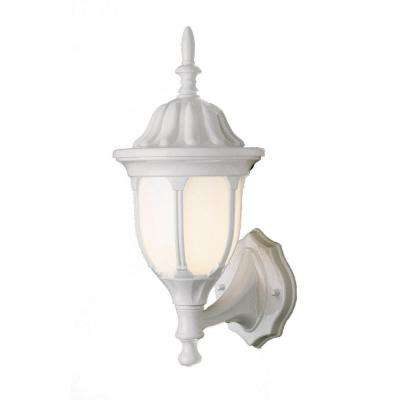 Cabernet Collection 1-Light Outdoor White Coach Lantern with Opal Shade