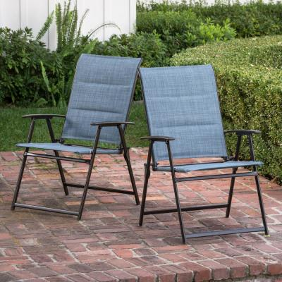 Mix and Match Folding Steel Outdoor Patio Dining Chair in Conley Denim Blue Sling (2-Pack)