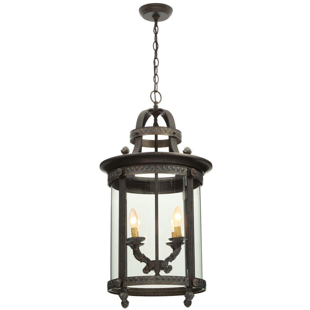 interior lantern lighting. World Imports Chatham Collection 4-Light French Bronze Hanging Interior Lantern-WI160463 - The Home Depot Lantern Lighting