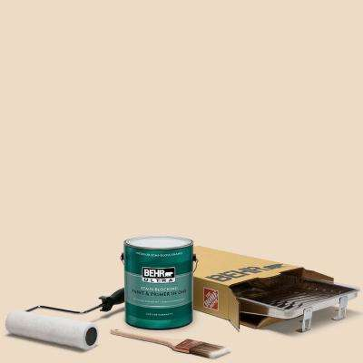 1 gal. #N290-2 Authentic Tan Ultra Semi-Gloss Enamel Interior Paint and 5-Piece Wooster Set All-in-One Project Kit
