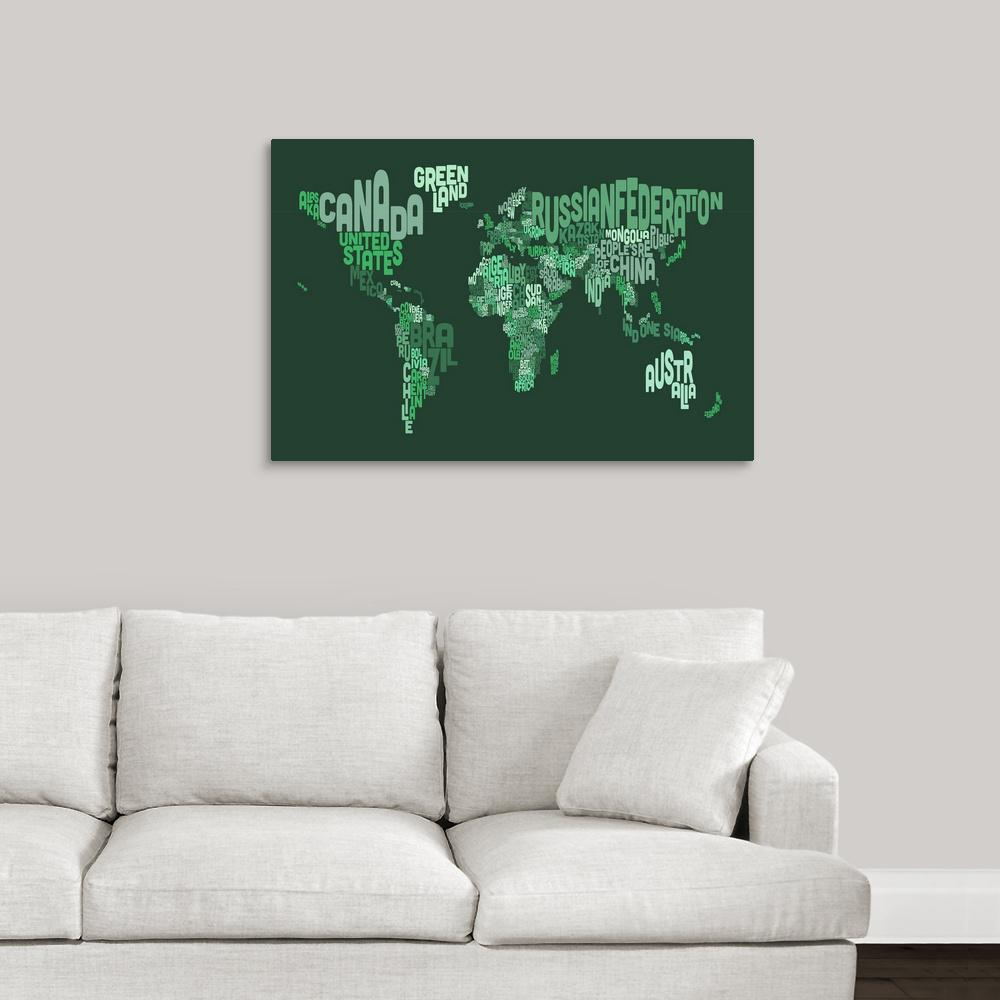 Greatbigcanvas country names world map green by michael tompsett greatbigcanvas country names world map green by michael tompsett canvas gumiabroncs Image collections