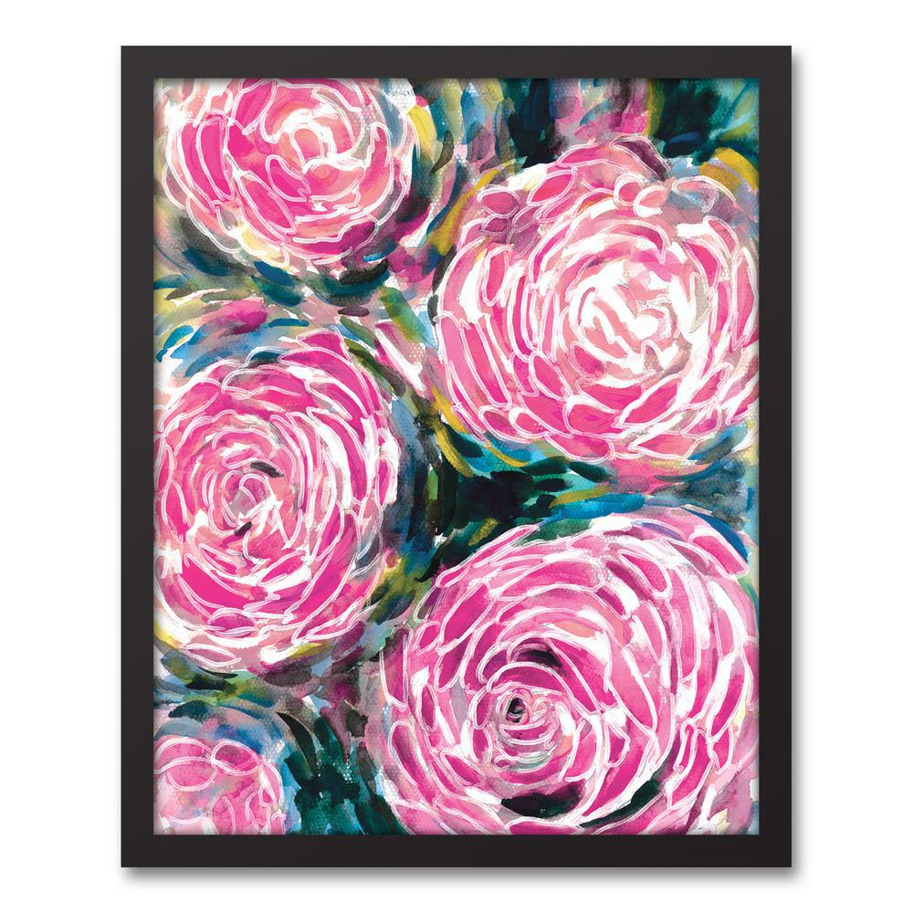 16 in. x 20 in. ''Pink Watercolor Flowers'' Printed Framed Canvas