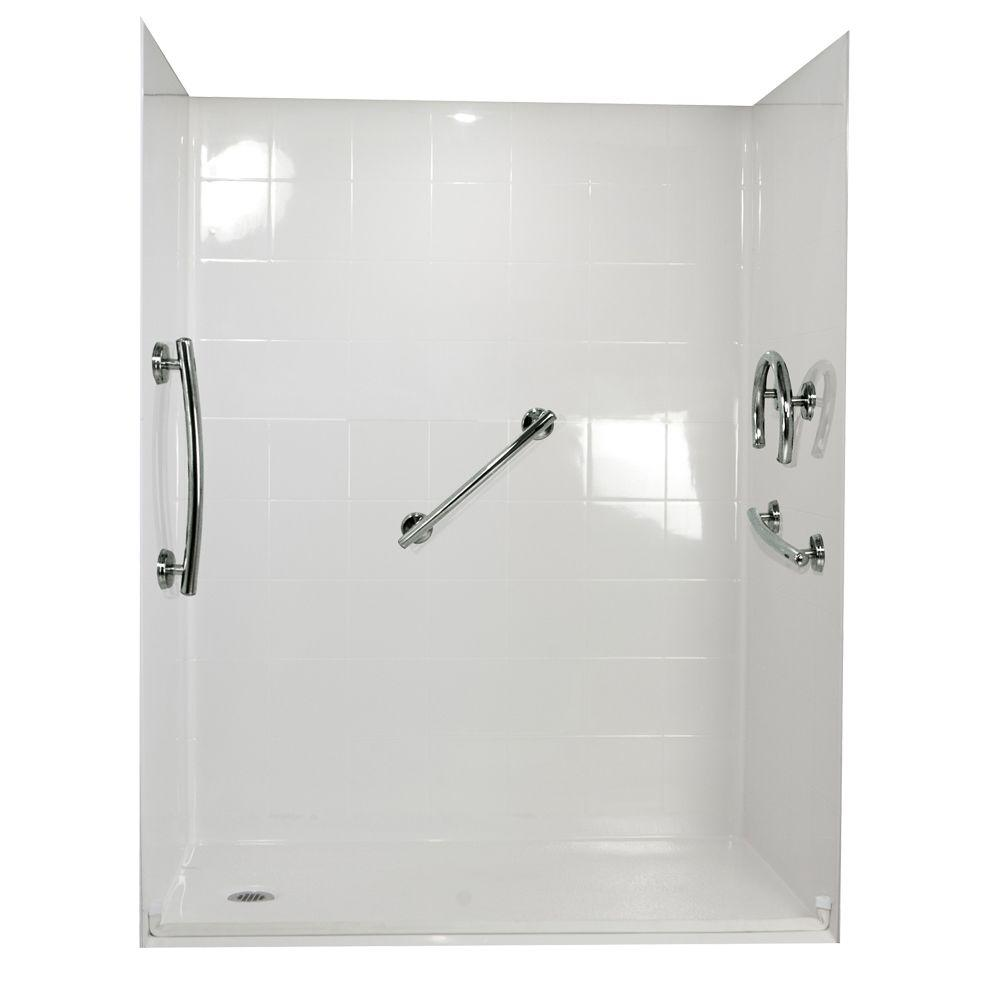 Ella Freedom 37 in. x 60 in. x 78 in. Barrier Free Roll-In Shower Kit in White with Left Drain