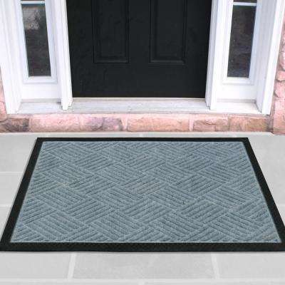 Silver 18 in. x 30 in. Ribbed Carpet Natural Rubber Door Mat