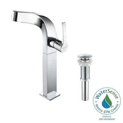 Typhon Single Hole Single-Handle High-Arc Vessel Bathroom Faucet with Matching Pop-Up Drain in Chrome